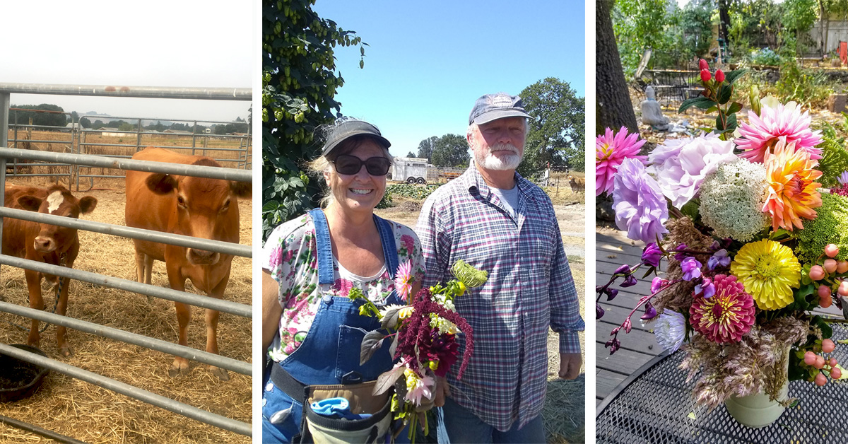 Farmers Amy and Jim Crawfford with cows and flowers