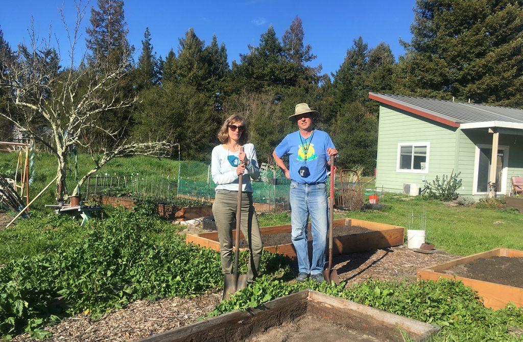 Tor and Dena Allen in their garden